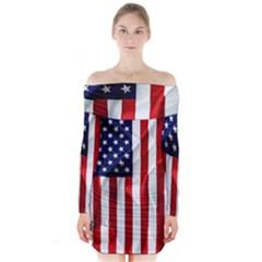 American Usa Flag Vertical Long Sleeve Off Shoulder Dress