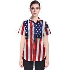 American Usa Flag Vertical Women s Short Sleeve Shirt