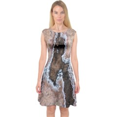 Earth Art Natural Texture Salt Of The Earth Capsleeve Midi Dress