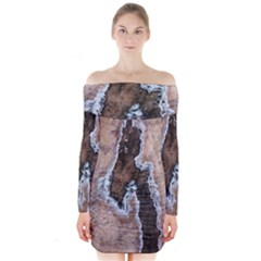 Earth Art Natural Texture Salt Of The Earth Long Sleeve Off Shoulder Dress