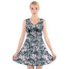 Floral Collage Pattern V Neck Sleeveless Dress