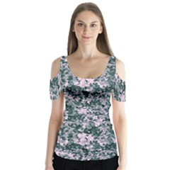 Floral Collage Pattern Butterfly Sleeve Cutout Tee