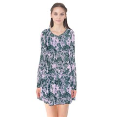 Floral Collage Pattern Long Sleeve V Neck Flare Dress by dflcprints