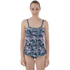 Floral Collage Pattern Twist Front Tankini Set