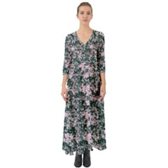 Floral Collage Pattern Button Up Boho Maxi Dress