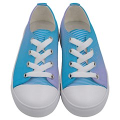 Background Graphics Lines Wave Kids  Low Top Canvas Sneakers