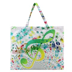Points Circle Music Pattern Zipper Large Tote Bag