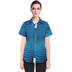 Blue Background Brush Particles Wave Women s Short Sleeve Shirt