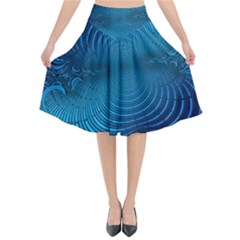 Blue Background Brush Particles Wave Flared Midi Skirt