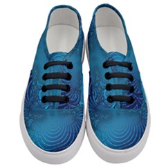 Blue Background Brush Particles Wave Women s Classic Low Top Sneakers