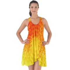 Abstract Explosion Blow Up Circle Show Some Back Chiffon Dress