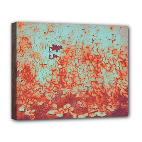 Orange Blue Rust Colorful Texture Deluxe Canvas 20  X 16