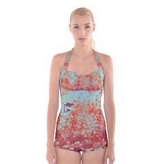 Orange Blue Rust Colorful Texture Boyleg Halter Swimsuit