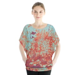 Orange Blue Rust Colorful Texture Blouse