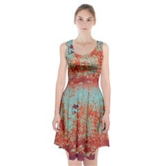 Orange Blue Rust Colorful Texture Racerback Midi Dress
