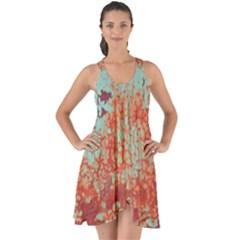 Orange Blue Rust Colorful Texture Show Some Back Chiffon Dress