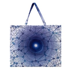 Network Social Abstract Zipper Large Tote Bag