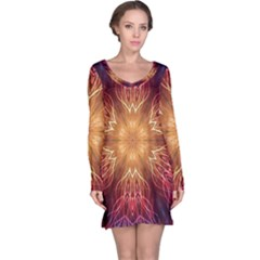 Fractal Abstract Artistic Long Sleeve Nightdress