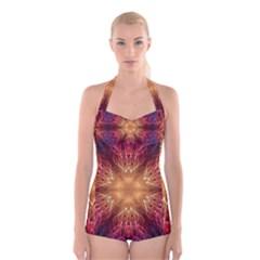 Fractal Abstract Artistic Boyleg Halter Swimsuit