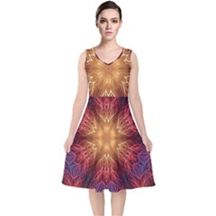 Fractal Abstract Artistic V Neck Midi Sleeveless Dress
