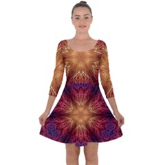 Fractal Abstract Artistic Quarter Sleeve Skater Dress
