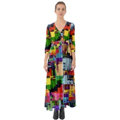 Color Abstract Background Textures Button Up Boho Maxi Dress
