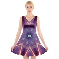 Abstract Glow Kaleidoscopic Light V Neck Sleeveless Dress