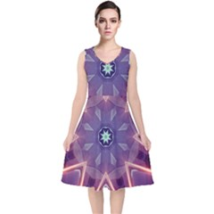 Abstract Glow Kaleidoscopic Light V Neck Midi Sleeveless Dress