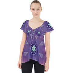 Abstract Glow Kaleidoscopic Light Lace Front Dolly Top