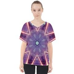 Abstract Glow Kaleidoscopic Light V Neck Dolman Drape Top