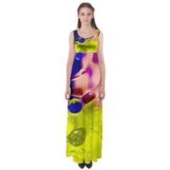 Abstract Bubbles Oil Empire Waist Maxi Dress