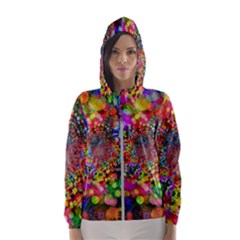 Background Color Pattern Structure Hooded Windbreaker (women)