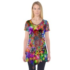 Background Color Pattern Structure Short Sleeve Tunic