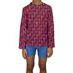 Fabric Pattern Desktop Textile Kids  Long Sleeve Swimwear