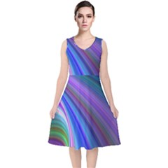 Background Abstract Curves V Neck Midi Sleeveless Dress