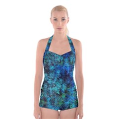 Color Abstract Background Textures Boyleg Halter Swimsuit