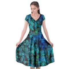 Color Abstract Background Textures Cap Sleeve Wrap Front Dress