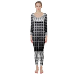 Space Glass Blocks Background Long Sleeve Catsuit
