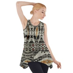Fabric Textile Abstract Pattern Side Drop Tank Tunic