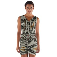 Fabric Textile Abstract Pattern Wrap Front Bodycon Dress