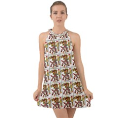 Aztec 1 Halter Tie Back Chiffon Dress