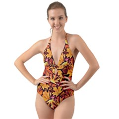 Fall Leaves Pattern Halter Cut Out One Piece Swimsuit