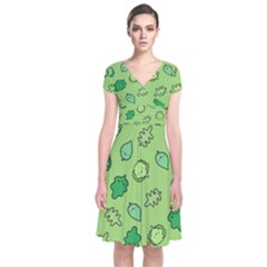 Funny Greens And Salad Short Sleeve Front Wrap Dress