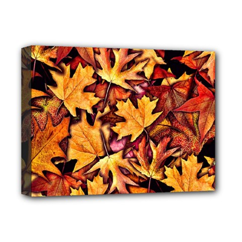 Fall Leaves Pattern Deluxe Canvas 16  X 12   by bloomingvinedesign