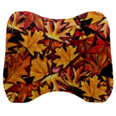 Fall Leaves Pattern Velour Head Support Cushion by bloomingvinedesign