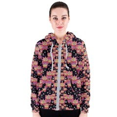 Fantasy Flower Ribbon And Happy Florals Festive Women s Zipper Hoodie