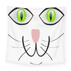 Cat Green Eyes Happy Animal Pet Square Tapestry (large) by Sapixe