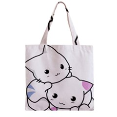 Kitty Cuddling Cat Kitten Feline Grocery Tote Bag by Sapixe