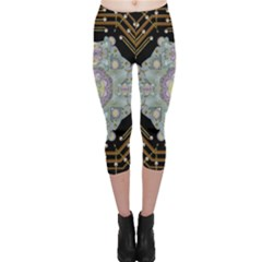 Butterflies And Flowers A In Romantic Universe Capri Leggings