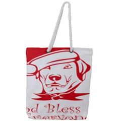 Dog Santa Hat Winter Christmas Full Print Rope Handle Tote (large)